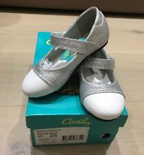 New Girls Toddler Kids Shoes Grosby Silver Mary Jane Size 25 Leather Tip Toe $80
