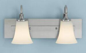 Feiss Lighting VS12703-BS Barrington 2 Light Bath Vanity, Brushed Steel Finish