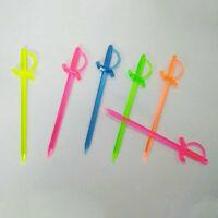 100 x Mix Color Plastic Pirate Sword Picks Sticks Cupcake Cocktail Party Decor