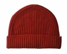 100% Cashmere Knit Watch Ski Hat Cap Beanie Red One Size $125
