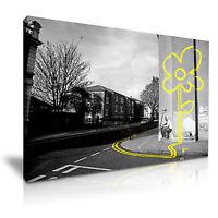 BANKSY Yellow Line Flower Graffiti Modern Art Print Framed Canvas Box ~1pc
