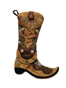 19 In Cowboy Floral Browb Faux Sueded Boots Christmas Stocking