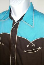 Roper 2XL Western Rockabilly long sleeve embroidered shirt pearl snap Rodeo