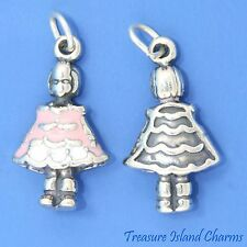 GIRL with ENAMEL PINK and WHITE DRESS 3D .925 Solid Sterling Silver Charm