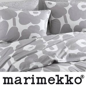 MARIMEKKO Unikko Two KING Pillow SHAMS Grey Bold Poppies Print Modern NEW