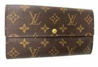 AUTH Louis Vuitton Monogram Browns Portefeuille Sarah Long Wallet  A-1417-3