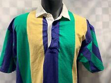 Vintage GANT Rugger Striped Blue Green Yellow Polo Shirt Men's Size L