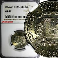 DOMINICAN REPUBLIC 1984 25 Centavos NGC MS64 Mirabal Sisters TONED KM# 61.1