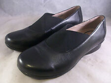 DANSKO WOMEN'S ANN SLIP-ON ELASTIC SHOES BLACK LEATHER 37 7 MEDIUM $145