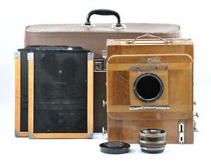 RARE FKD 18x24cm Large Format Wooden Camera w/ Lens, 2x Cassettes & Case! Read!