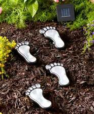 Set of 4 Solar Powered Lighted Footprints In The Garden Statue Decor