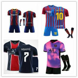 New Kids Boys Football Kits Soccer Training Jersey Top Shorts Socks Outfits