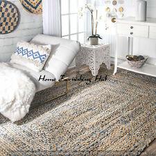 Braided 3 x 5 Ft Decorative Denim Cotton Jute Handmade Floor Reversible Rag Rugs