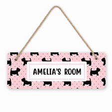 Personalised Custom Dog Polka Dots Girls Kids Children's Room Door Hanger Sign