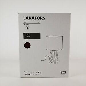 "Ikea Lakafors Table Lamp 16"" Dark Brown Pine Wood/Dark Pink Black Lamp Shade New"