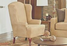 Ultimate Stretch leather wing chair Slipcover sure fit Birch tan