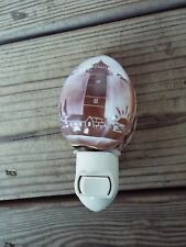 Lighthouse SEA SHELL NIGHT LIGHT Hand Carved Purple Tiger Cowrie UL Approved NEW