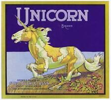Unicorn, original california orange crate label, gold buckle, San Bernardino