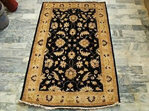 Black Chobi Zeigler Mahal Vege Dyed Area Rugs Hand Knotted Carpet (5.1 x 3.2)'