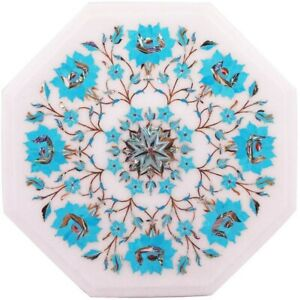 """12"""" White Marble Octagon Table Top Turquoise Inlay Floral Art Kitchen Decor W503"""