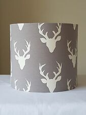 HANDMADE 20cm FABRIC DRUM LAMPSHADE GREY STAG HEAD DEER BUCK COUNTRY COTTAGE