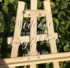 Personalised Wedding Welcome Sign A3 Size - Modern Look Clear Acrylic