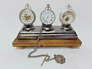 Triple Pocket watch stand rack holder desk top display fob watch wood & Ceramic