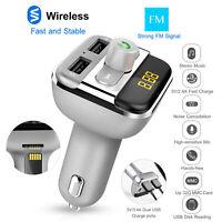 Car Kit Wireless FM Transmitter 2 USB Charger Audio MP3 Player MIC US