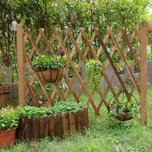 Wooden Fence Border Telescopic Folding Panel Hanging Extendable Gate Garden