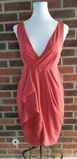 New NWT H&M Dark Rose Red Orange Deep V Neck Faux Wrap Drape A Line Dress size 6