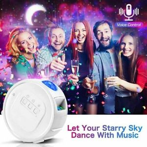 3 in 1 Galaxy Night Light Projector Bluetooth Music Moon Star Sky Party LED Lamp