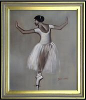 Framed,  Ballerina Dancing in Gray, Hand Painted Oil Painting 20x24in