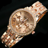 Luxury Wrist Watch Womens Bling Crystal Stainless Steel Quartz Analog Rose