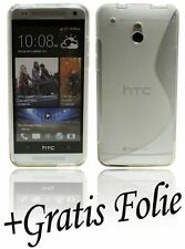 Silikonhülle Cover Handyschale für HTC ONE MINI + Displayfolie TRANSPARENT