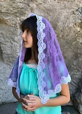 Lavender veils and mantilla Catholic church chapel scarf lace headcovering Large