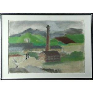 Large Original Signed Framed Scottish Industrial Landscape Pastel Frencia Turner
