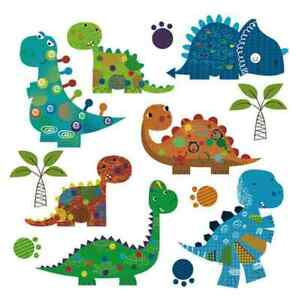 set of 7 dinosaurs cute on 1 sheet iron on t shirt transfer A5
