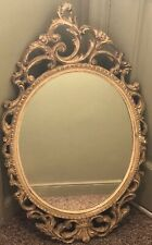 Large Shabby Chic Vintage Ornate Hard Resin Framed Wall Mirror 32 x 19 In.