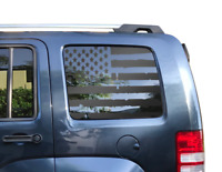 Jeep Commander Distressed USA Flag Decals 2005-2010 Side Windows XK  Hemi  JC6