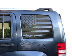 Distressed Flag Decal for Jeep Liberty -  Window USA American Flag 2007-2012 KK2