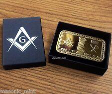 1oz GOLD *PLATED* MASONIC BAR - ILLUMINATI / FREEMASON / BLUE LODGE / MEDAL/GIFT
