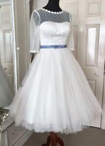 Rhian Wedding Dress - House of Mooshki, Ivory, US 6, Vintage Style Polka Dot
