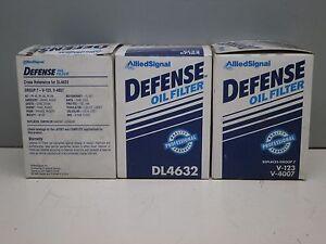 Lot of (3) Defense DL4632 Engine Oil Filter PH3429 PH3675 V-123 V-4007 CF45