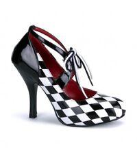 PLEASER FUNTASMA HAR 03  Black/White Check Mary-Jane Stiletto Shoes Heels UK8