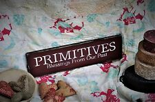 Primitives Blessings From Our Past Wood Sign Burgundy Chippie Paint Folk Art