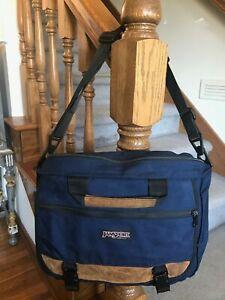 Vtg Navy Blue Jansport Messenger Bag Laptop Crossbody Nylon/ Suede Leather USA