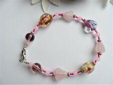 Handmade Glass Bead Bracelet~ Pink Lampwork Beads ~ Claw Fastening NEW