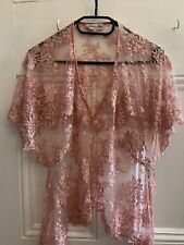 Alice Templerley Pink Beaded Lace Top Size 12
