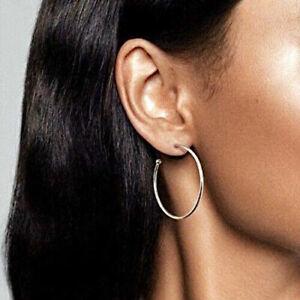 Genuine  PANDORA Sterling Silver Large CLASSIC HOOP Earrings 297694 ALE S925