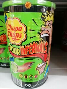 Chupa Chups Sour Infernals Sour Lollies Sour Candy EXTREM SAUER - 100 Pack ab 6